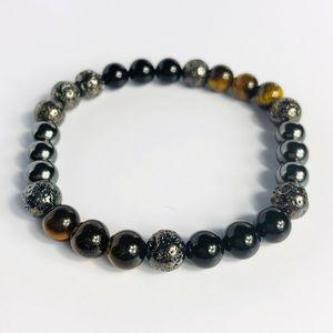 GEMSTONE   Mens Tiger Eye Onyx Volcanic Bracelet